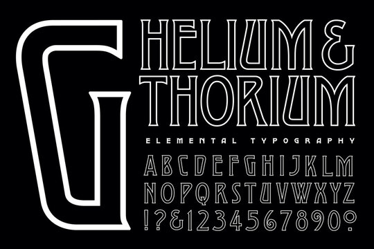 A Condensed Alphabet in an Art Deco Style in Simple White on Black