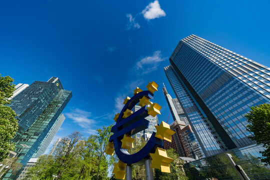 Frankfurt, Germany-April 26, 2019 : Euro Sign at European Central Bank (ECB) in Frankfurt, Germany. It is the central bank for the euro and administers the monetary policy of the Eurozone.