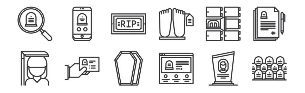 12 set of linear funeral icons. thin outline icons such as cemetery, funeral, funeral, morgue, funeral, for web, mobile.