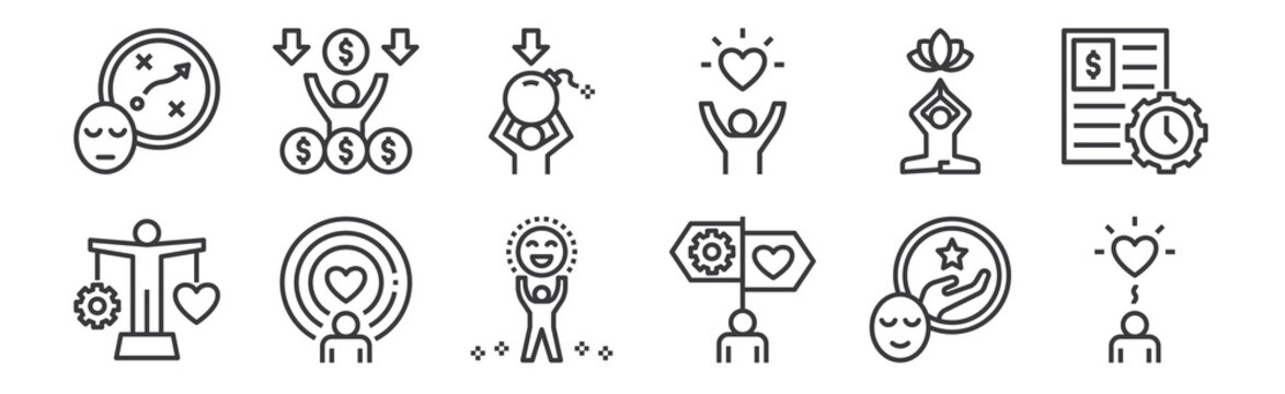 12 set of linear work life balance icons. thin outline icons such as wellness, guidance, spirit, relaxation, stress, rich for web, mobile.