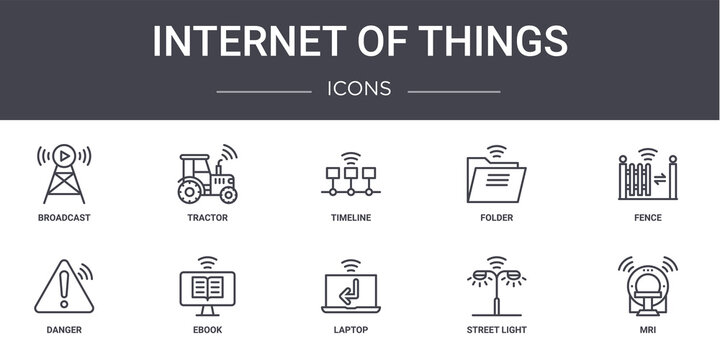 internet of things concept line icons set. contains icons usable for web, logo, ui/ux such as tractor, folder, danger, laptop, street light, mri, fence, timeline