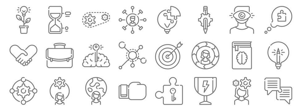 life skills line icons. linear set. quality vector line set such as dialogue, trophy, boxing glove, gear, book, brain, speech bubble, light bulb, hourglass