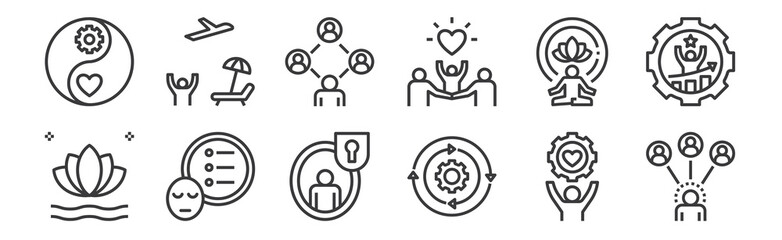 12 set of linear work life balance icons. thin outline icons such as relationship, management, priority, meditation, community, leisure for web, mobile.