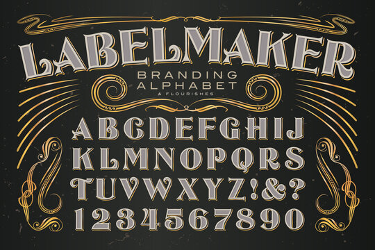 A Strong and Elegant Alphabet with Flourishes; Excellent for Creating High-end Labeling Designs