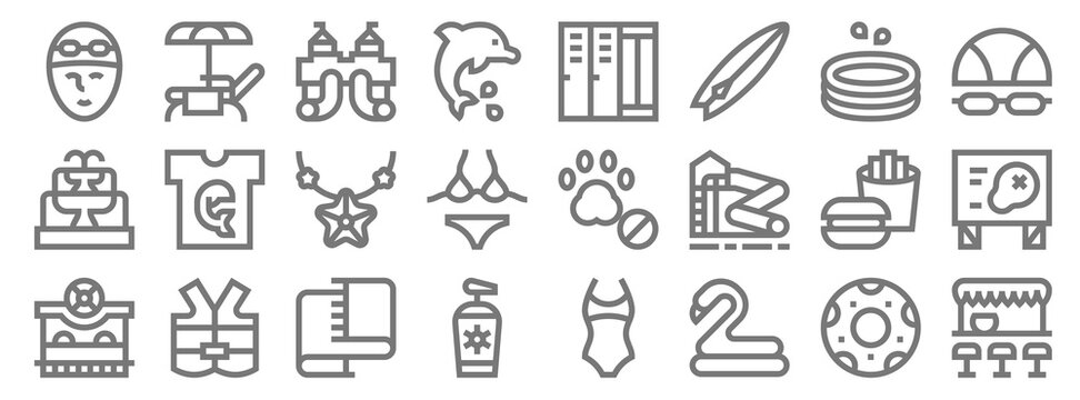 water park line icons. linear set. quality vector line set such as pub, rubber ring, sunscreen, ticket office, fast food, starfish, goggles, lockers, sunbed