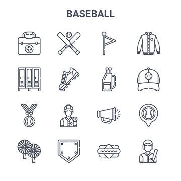 set of 16 baseball concept vector line icons. 64x64 thin stroke icons such as baseball, locker room, baseball cap, megaphone, base, batter, hot dog, bag, jacket