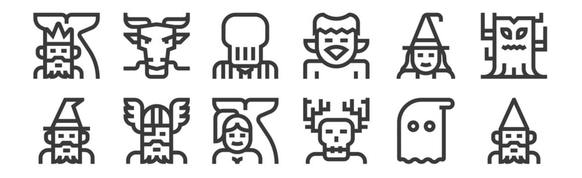 12 set of linear fantastic characters icons. thin outline icons such as gnome, wendigo, odin, witch, slenderman, dragon for web, mobile.