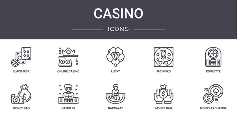 casino concept line icons set. contains icons usable for web, logo, ui/ux such as online casino, pachinko, money bag, baccarat, money bag, money exchange, roulette, lucky