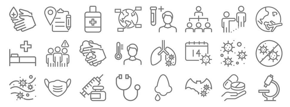virus line icons. linear set. quality vector line set such as research, bat, doctor, coronavirus, coronavirus, hand wash, travel, blood test, document