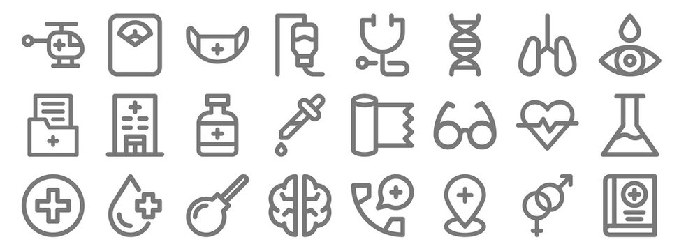 medical items line icons. linear set. quality vector line set such as medical book, pin, brain, health, heart rate, bottle, eye dropper, stethoscope, weight scale