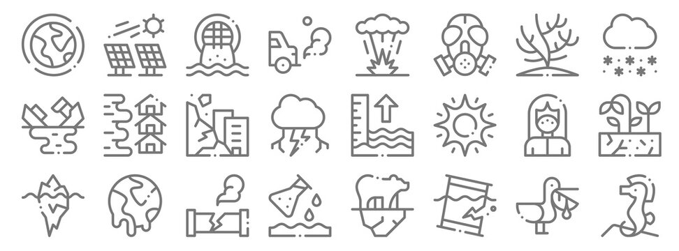 climate change line icons. linear set. quality vector line set such as sea horse, oil spill, pollution, iceberg, mask, landslide, snowflake, explosion, solar panel