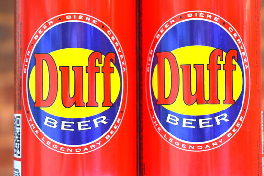 Can of beer in London, UK on June 22 2020 produced by Duff Beverage Originated as fictional drink on the animated series The Simpsons It is parody of American cheap poor-quality heavily marketed lager