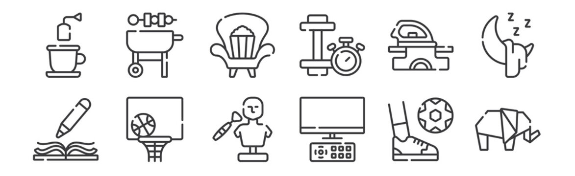 12 set of linear free time icons. thin outline icons such as elephant, watching tv, basketball, clothes, watch, barbeque for web, mobile.