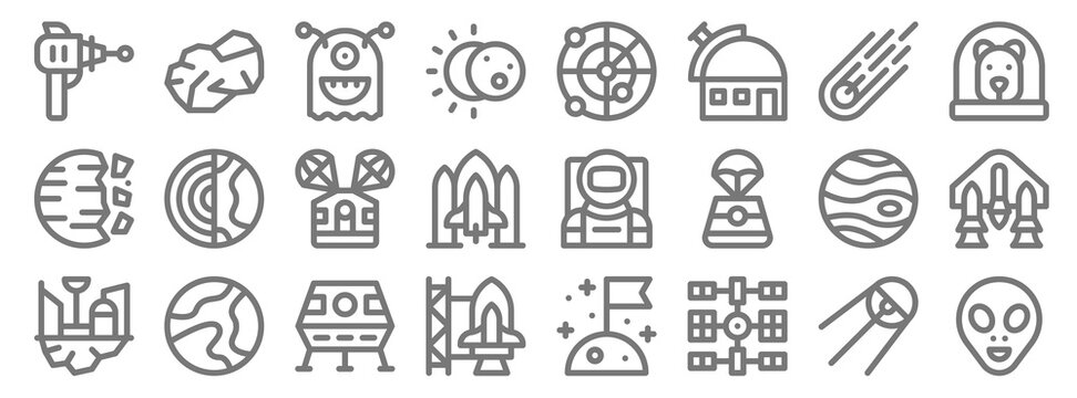 space line icons. linear set. quality vector line set such as alien, space station, , space colony, jupiter, capsule, dog, radar, asteroid