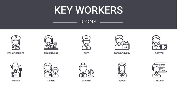 key workers concept line icons set. contains icons usable for web, logo, ui/ux such as pharmacist, food delivery, farmer, lawyer, judge, teacher, doctor, chef