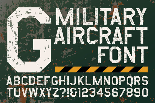 A Grunge Alphabet in the Style of Military Aircraft Insignias and Markings. This Geometric Font has a Chipped Metal Paint Appearance.