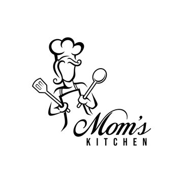 Mom kitchen logo vector illustration with modern typography. Chef mascot logo.