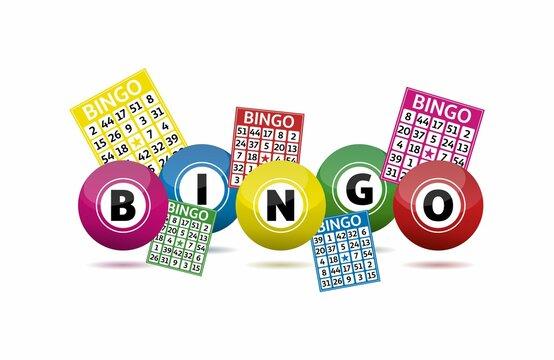 Bingo lottery balls and bingo cards concept vector illustration