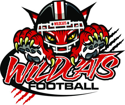 wildcats football team design with mascot and claws for school, college or league