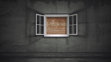Brick wall window