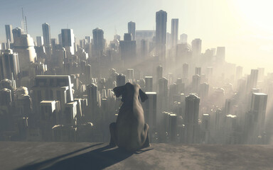 Sitting elephant looking at a big city during sunset . industrialization and global warming...