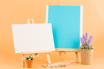 Easels and brushes