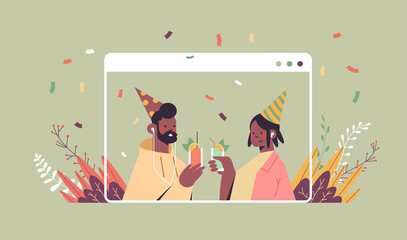 couple in festive hats celebrating online birthday party man woman in computer window drinking cocktails celebration self isolation quarantine concept portrait horizontal vector illustration
