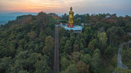 .aerial view stairway to the highest temple Wat Prathat Doi Wao at Mae Sai Chiang Rai Thailand