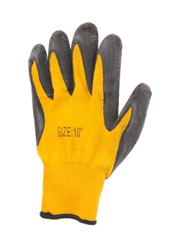 Yellow leather work gloves isolated on white background
