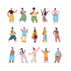 Wall Mural - set cute people in casual trendy clothes mix race men women standing in different poses male female cartoon characters collection full length isolated vector illustration
