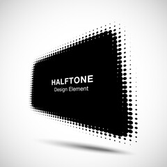 Wall Mural - Halftone distort rectangle in perspective. Circle dots. Logo design element. Sale banner. Vector illustration
