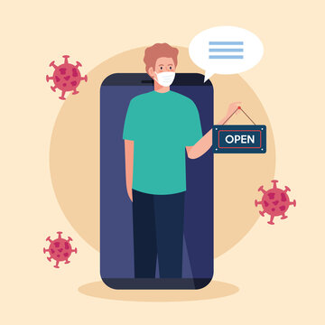 open again after quarantine, man with label of reopening of shop in smartphone vector illustration design