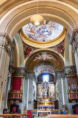 Interior of Chiesa di San Martino is Roman Catholic church in Siena. Italy