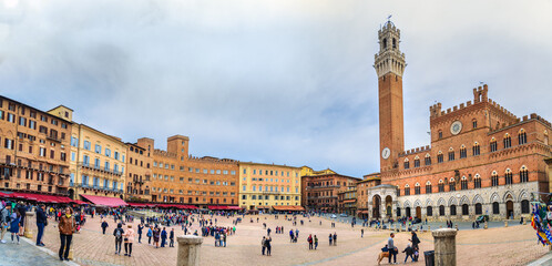 Panorama of Piazza del Campo, square and historic center in Siena. Italy