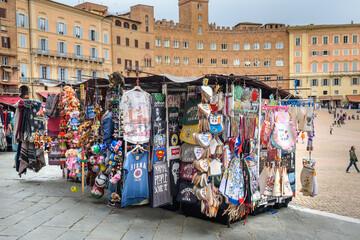 Palazzo Sansedoni and Palazzo Chigi Zondadari on Piazza del Campo, square and historic center in Siena. Italy