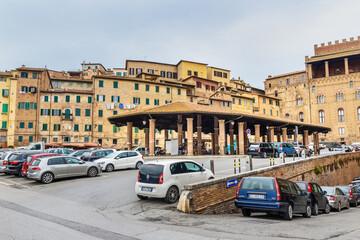 Piazza del Mercato is old market square in Siena. Italy