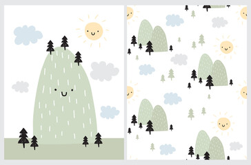 Cute Simple Vector Illustration and Seamless Pattern with Green Moutain, Smiling Sun and Cloudy Sky. Abstract Infantile Style Mountain and Hand Drawn Trees on a White Background. Kids Room Decoration.