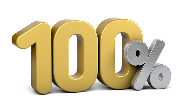 Golden 100 percent.  Isolated on white background. Special offer hundred percent off discount tag.3d render. 100%