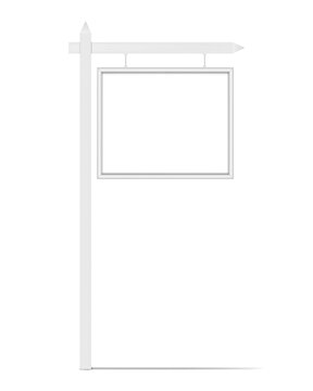 Blank white hanging signboard, vector mock-up. Empty street outdoor sign, mockup for design