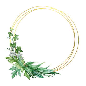Ivy and eucalyptus elegant wreath watercolor illustration. Hand drawn delicate decorative wreath with golden circles. Evergreen garden plant botanical ornament. Lush arrangement on white background