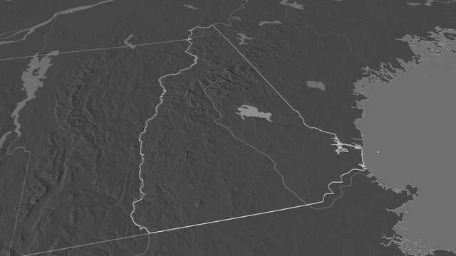 New Hampshire, United States - outlined. Bilevel
