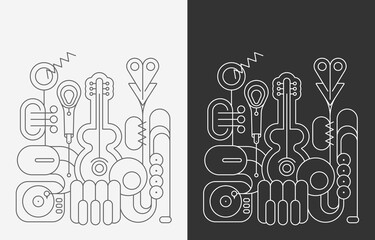 Photo Blinds Abstract Art Line art isolated on a dark grey and on a white background Music Instruments vector illustrations. Guitar, saxophone, piano keyboard, trumpet, microphone and gramophone.
