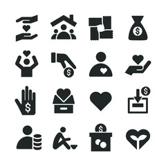 Charity Icons - Illustration - Editable Vector Graphic
