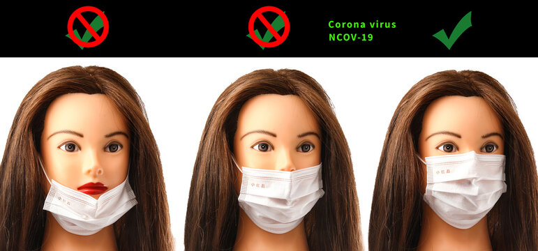 A doll that shows you how to put a mask correctly to prevent the virus from being infected The Corona Coronavirus 2019-nCoV