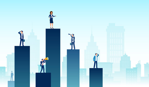 Vector of a business team and partners standing on charts of different heights