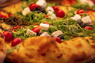 Pizza - Frisch - Detail - belegt - Italien