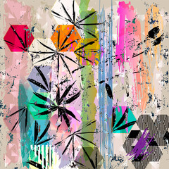 abstract background illustration, with strokes, splashes and geometric lines
