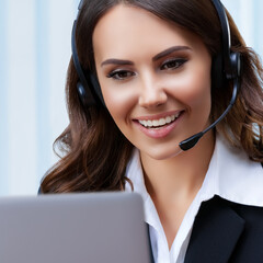Customer support female phone operator or sales agent in headset and confident black suit, with laptop at office workplace. Consulting and assistance service call center. Square size.