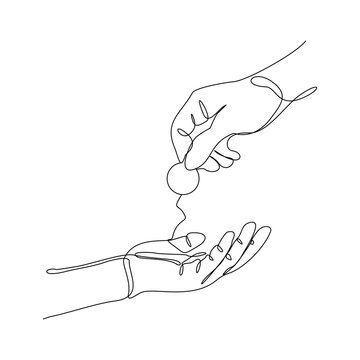 Continuous line drawing of hand hold money coin to give charity donate or pay something. Vector illustration