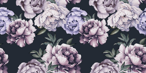 Obraz Seamless floral pattern with peony flowers on summer background, watercolor.  Botanical art - fototapety do salonu